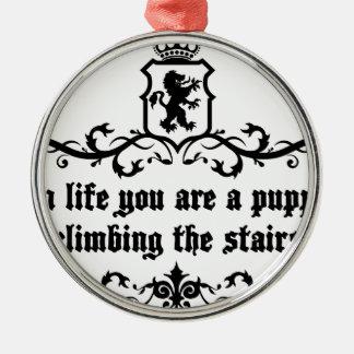 In het Leven bent u een Puppy Beklimmend de Treden Zilverkleurig Rond Ornament