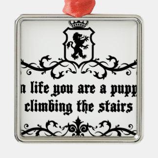 In het Leven bent u een Puppy Beklimmend de Treden Zilverkleurig Vierkant Ornament