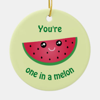 in Kerstmis van de Watermeloen Kawaii van de Rond Keramisch Ornament