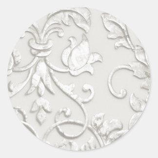 In reliëf gemaakt kijk Damast binnen van Wit Ronde Sticker