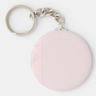 In reliëf gemaakte Roze en Zilveren Producten voor Basic Ronde Button Sleutelhanger