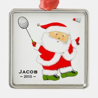 Inbare Kerstmis van het badminton Zilverkleurig Vierkant Ornament