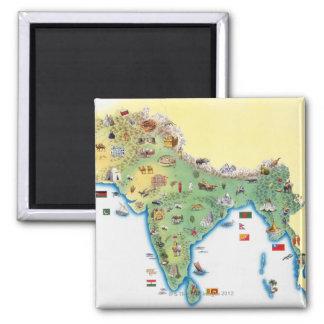 India, kaart met illustraties het tonen magneet