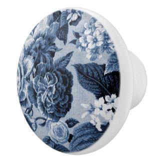 Indigo Blauwe Vintage BloemenToile No.1 Keramische Knop