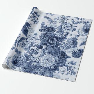 Indigo Blauwe Zwarte Witte Vintage BloemenToile Inpakpapier
