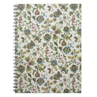 Indisch-geïnspireerd, bloemenontwerpbehang, 1965-7 ringband notitieboek