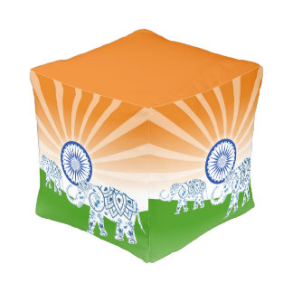 """Indische """"landschaps"""" vlag vierkante poef"""
