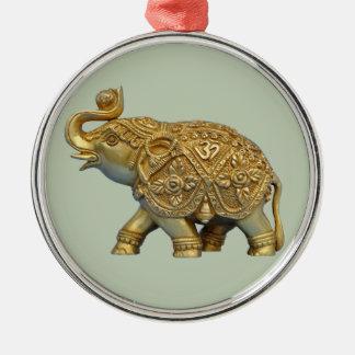Indische Olifant Zilverkleurig Rond Ornament