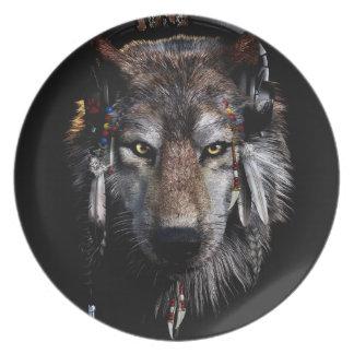 Indische wolf - grijze wolf melamine+bord