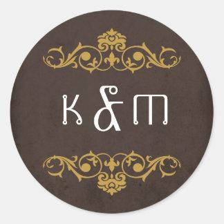 Industrieel Vintage Huwelijk Steampunk Ronde Sticker