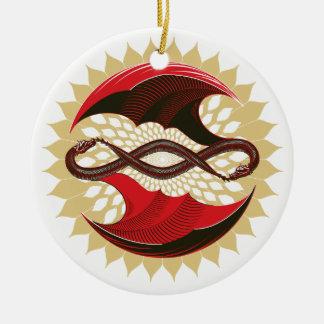 Ineengestrengelde Draken Rond Keramisch Ornament