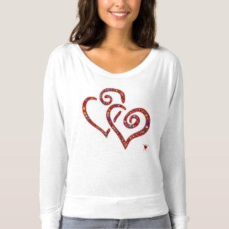 Ineengestrengelde harten, rood, emoji-gevuld longsleeve