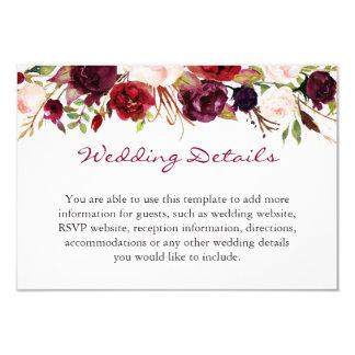 Info van de Details van het Huwelijk van de Kaart