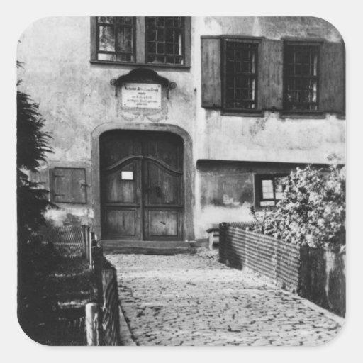 Ingang aan het huis van johann sebastian bach vierkant sticker - Ingang van het hedendaagse huis ...