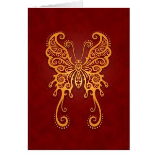 Ingewikkelde Gouden Rode Vlinder Wenskaart