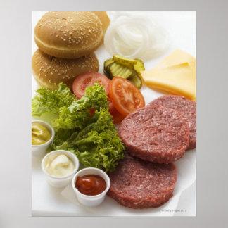 Ingrediënten voor cheeseburgers poster