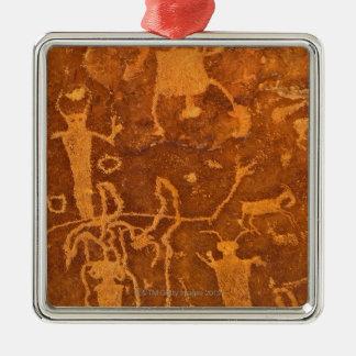 Inheemse Amerikaanse rotstekeningen, het Comité Zilverkleurig Vierkant Ornament