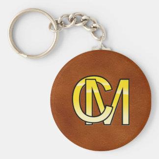 initialen C en M in goud Basic Ronde Button Sleutelhanger