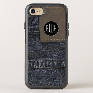 Initialen | textuur van Jeans OtterBox Symmetry iPhone 7 Hoesje