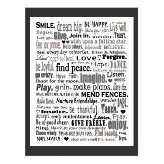 Inspireer de collage van de woordkunst wens kaart