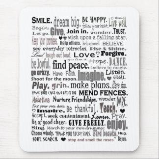 Inspireer de collage van de woordkunst muismat
