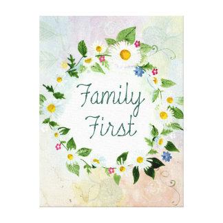 Inspirerend Citaat van de familie het eerst Canvas Afdruk