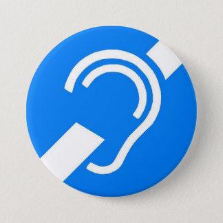 Internationaal Symbool voor Doof Ronde Button 7,6 Cm