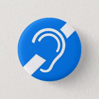 Internationaal Symbool voor Doof Wit op Blauw Ronde Button 3,2 Cm