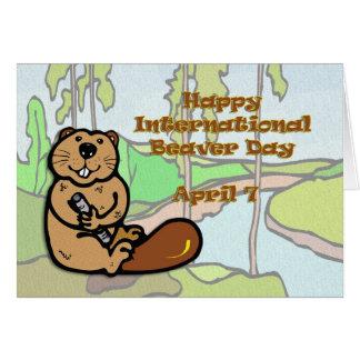 Internationale Bever Dag 7 April Wenskaart