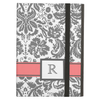 iPad BloemenDamast van het Koraal van het Monogram iPad Air Hoesje
