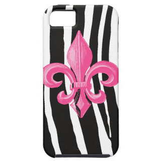 iPhone 5 Tough - Zebra met Hete Pink Fleur DE Lis Tough iPhone 5 Hoesje