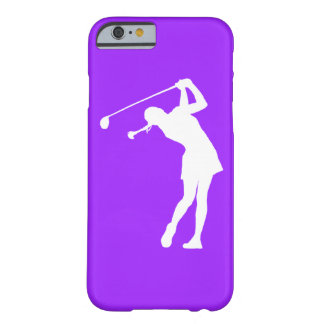 iPhone 6 hoesje Dame Golfer Silhouette White op Pu Barely There iPhone 6 Hoesje