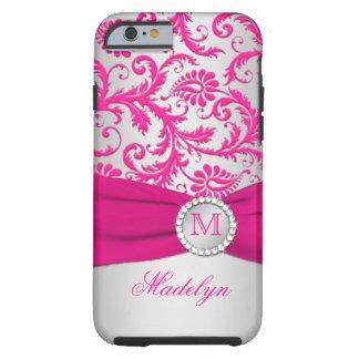 iPhone 6 van het Damast van het monogram Roze, Zil