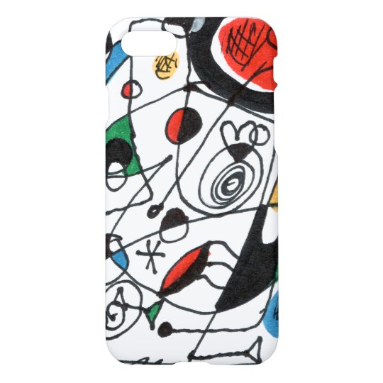 iPhone 7 Case, sketch in Miro style, Frank le Pair iPhone 8/7 Hoesje