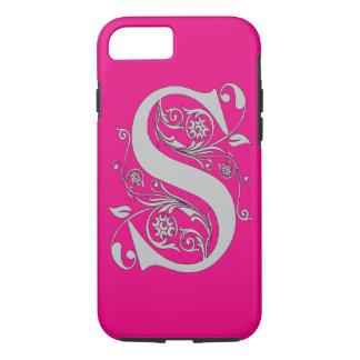 """iPhone 7 roze van het Monogram """"S"""" Tough iPhone 7 Hoesje"""