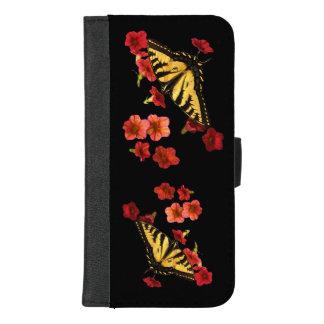 iPhone 8/7 van de Bloemen van de vlinder Rode plus iPhone 8/7 Plus Portemonnee Hoesje