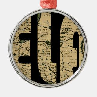 ireland1598b zilverkleurig rond ornament