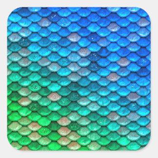 Iriserende Blauwgroen schittert de Schalen van de Vierkante Sticker