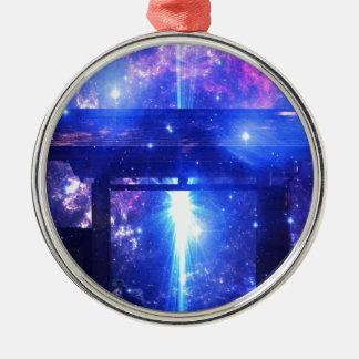 Iriserende Weg aan overal Zilverkleurig Rond Ornament