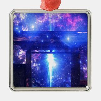 Iriserende Weg aan overal Zilverkleurig Vierkant Ornament