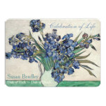 Irises Van Gogh Celebration BegrafenisAankondiging 12,7x17,8 Uitnodiging Kaart
