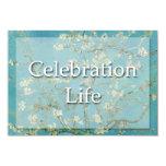 Irises Van Gogh Celebration BegrafenisAankondiging 8,9x12,7 Uitnodiging Kaart