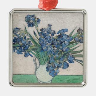 Irissen, 1890 zilverkleurig vierkant ornament