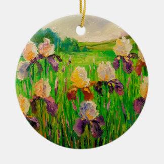 Irissen Rond Keramisch Ornament