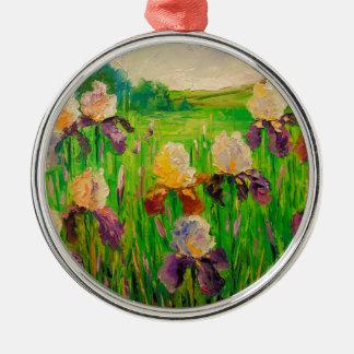 Irissen Zilverkleurig Rond Ornament