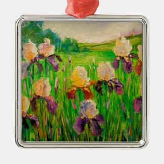 Irissen Zilverkleurig Vierkant Ornament