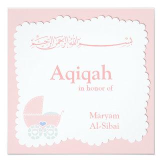 Islamitische Aqiqa babyuitnodiging bismillah 13,3x13,3 Vierkante Uitnodiging Kaart