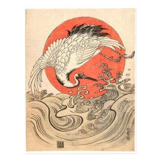 Isoda Koryusai - Kraan, Golven en het Toenemen Zon Briefkaart