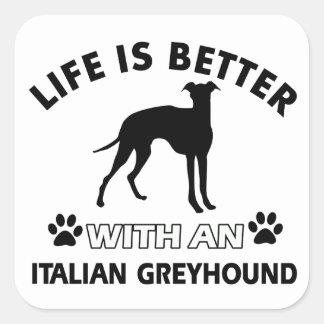 Italiaans het hondenrasdesign van de Windhond Vierkant Sticker