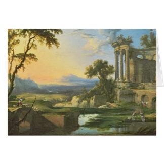 Italiaans landschap met ruïnes kaart